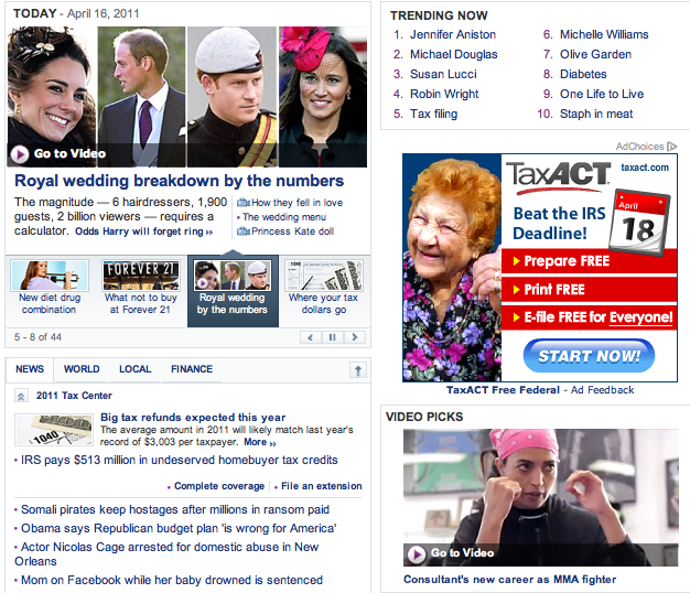 Cheryl Ragsdale on Yahoo! front page with the royals