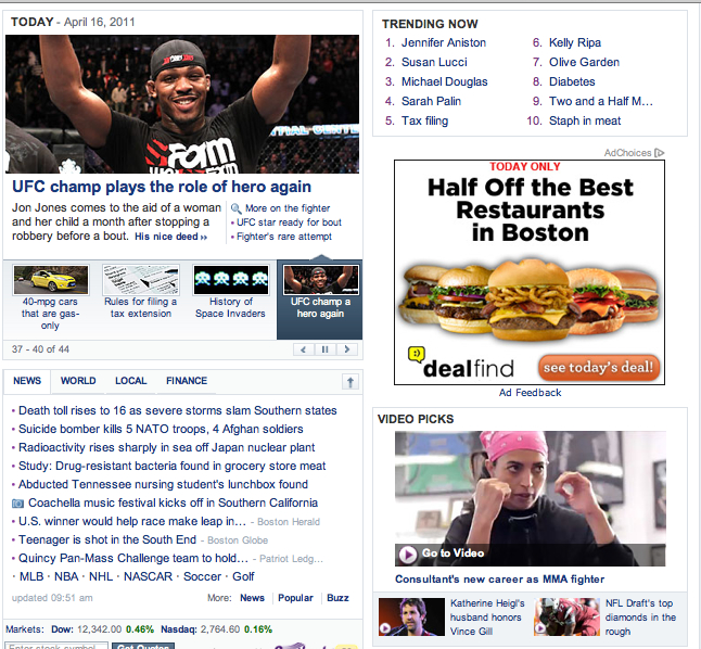 cheryl ragsdale on yahoo front page with jon jones too